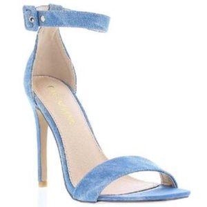 Denim Ankle Strap High Heel Sandals
